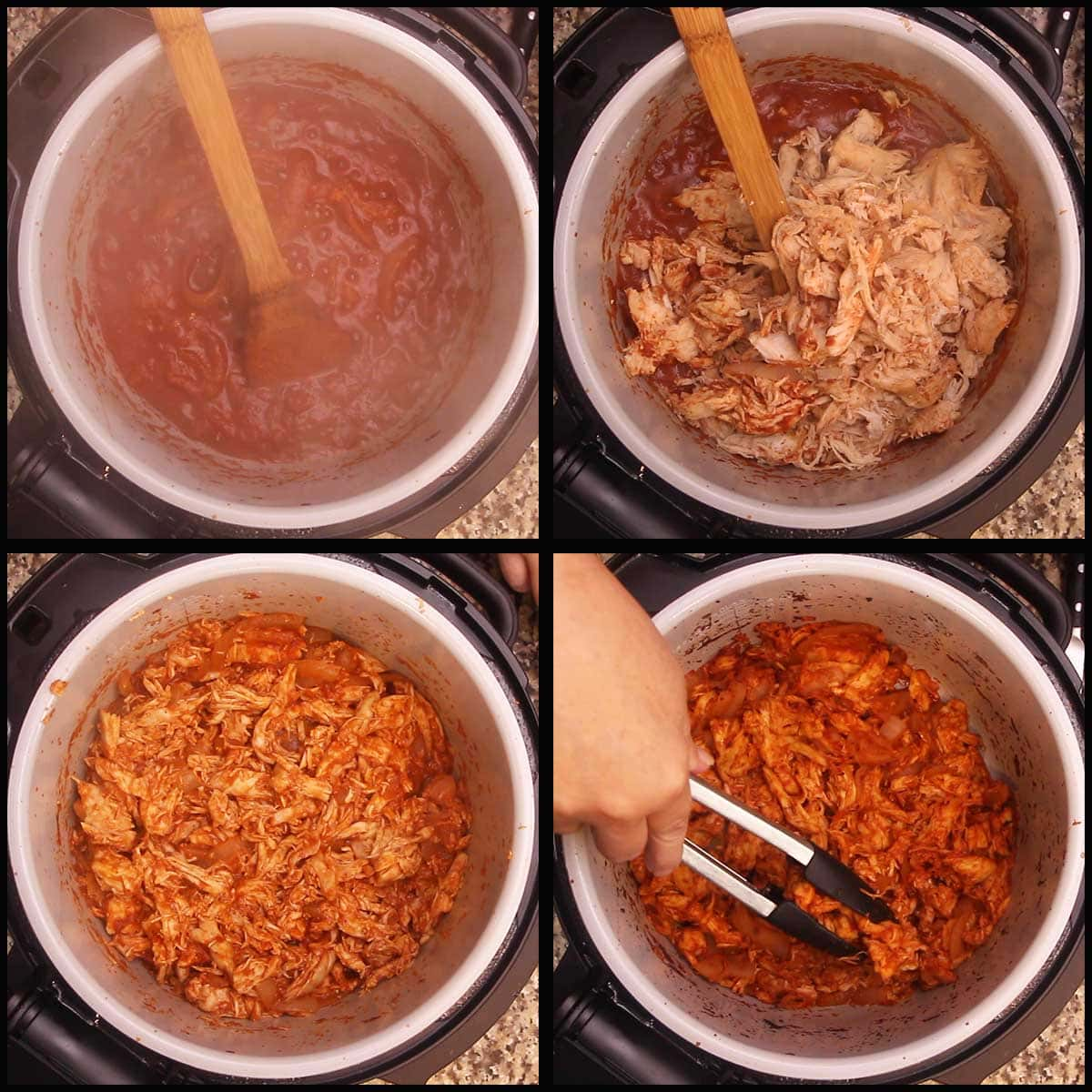 finishing chicken tinga by using air crisp to brown it up a bit