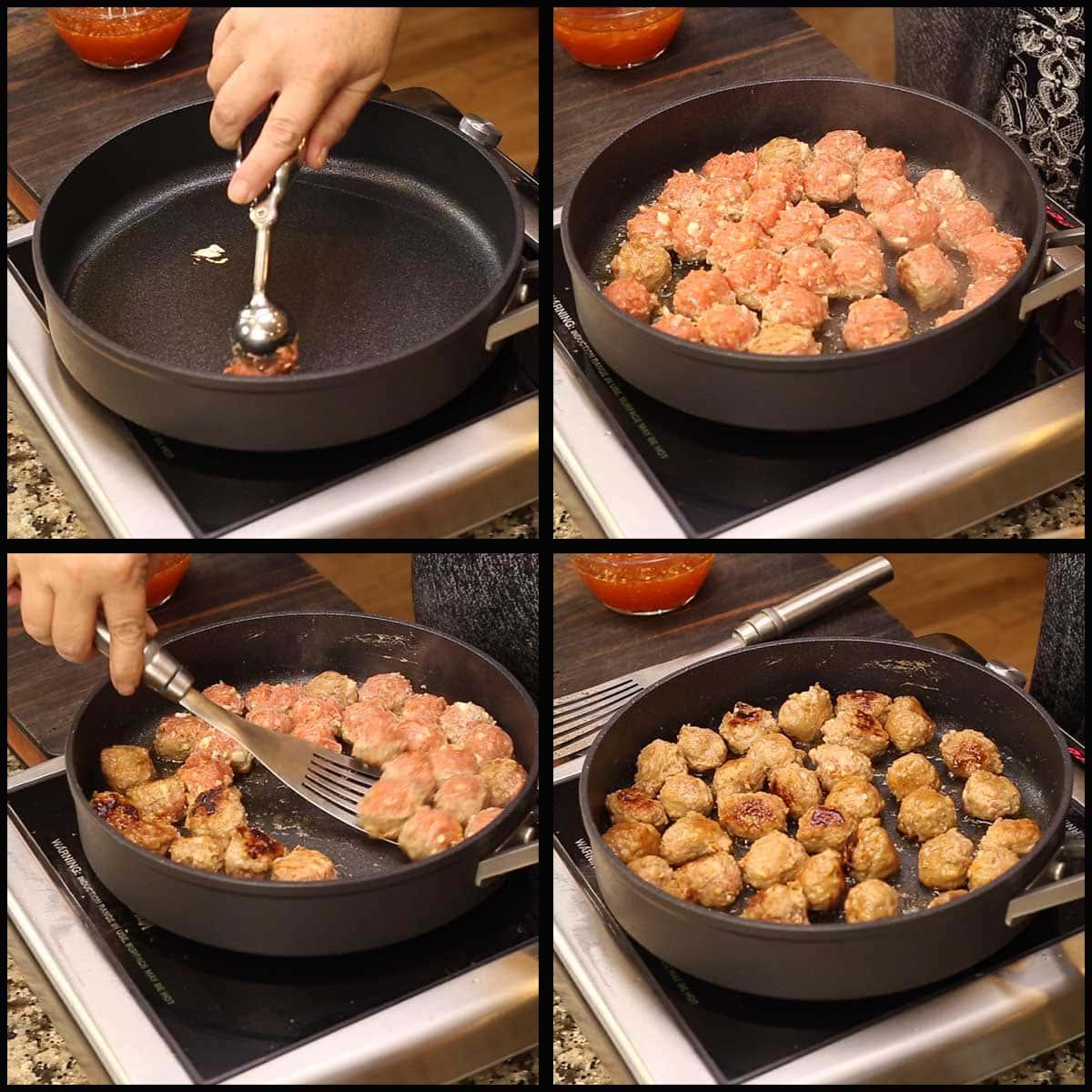 browning asian turkey meatballs in skillet