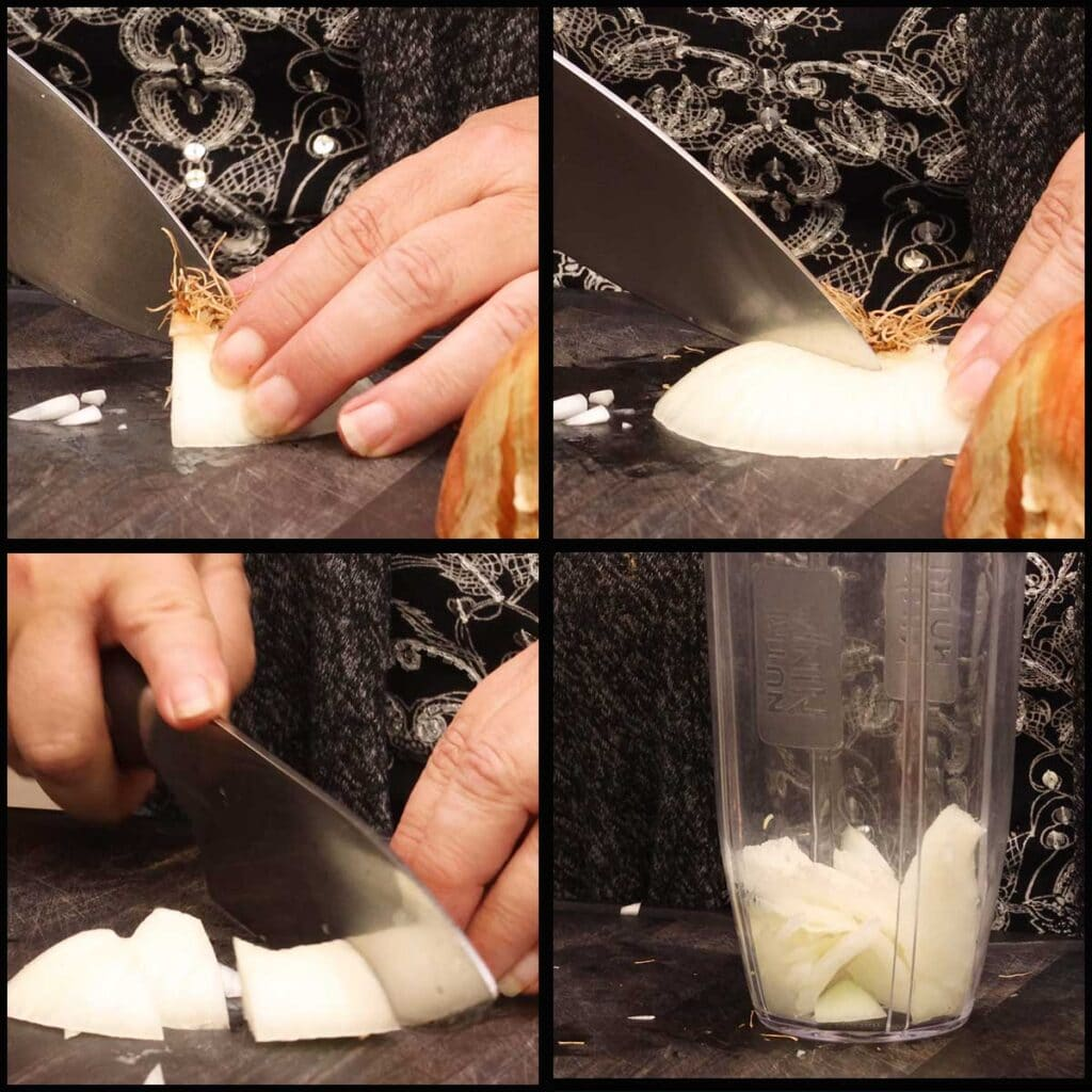 collage of 4 pictures showing the root end being cut and put in the blender cup