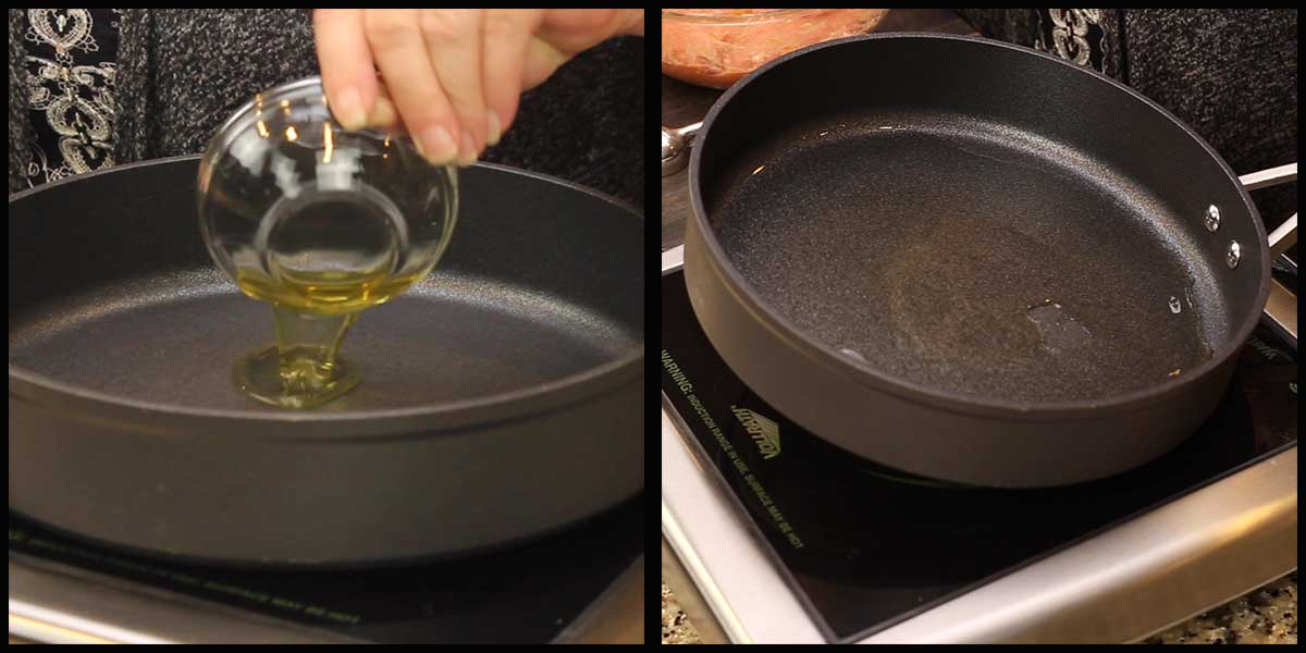 heating skillet to cook turkey meatballs