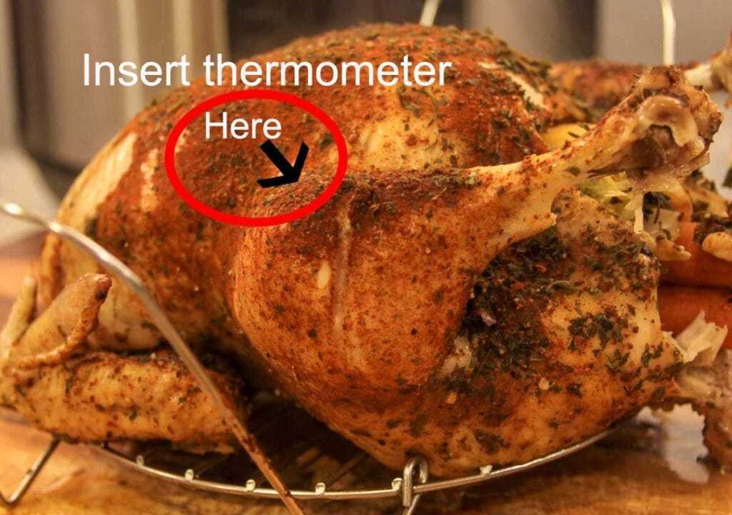 showing where to insert a thermometer on a chicken between the leg and breast