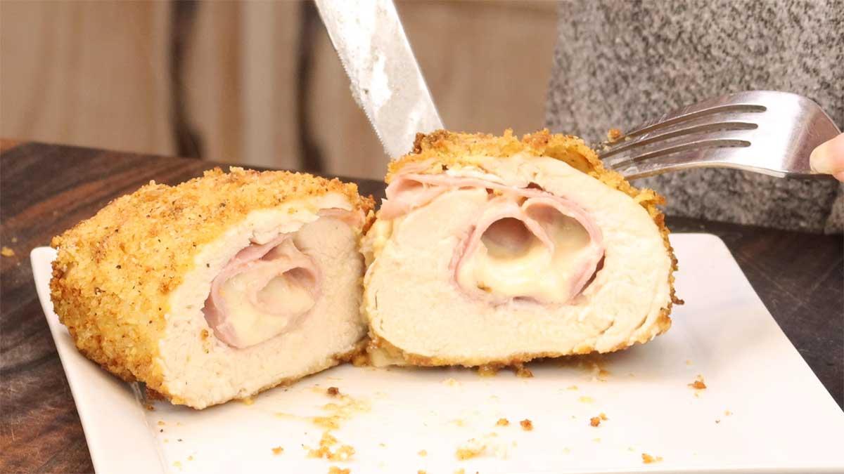 chicken cordon bleu cut in half for serving
