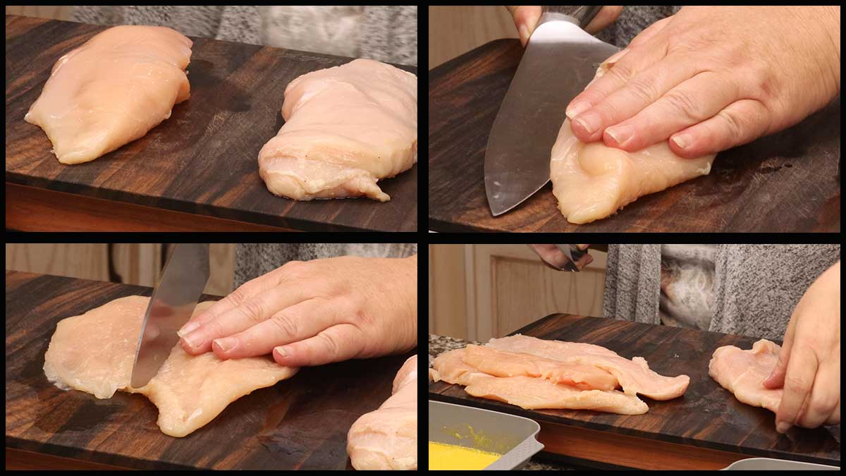 cutting the chicken breast in half lengthwise through the middle