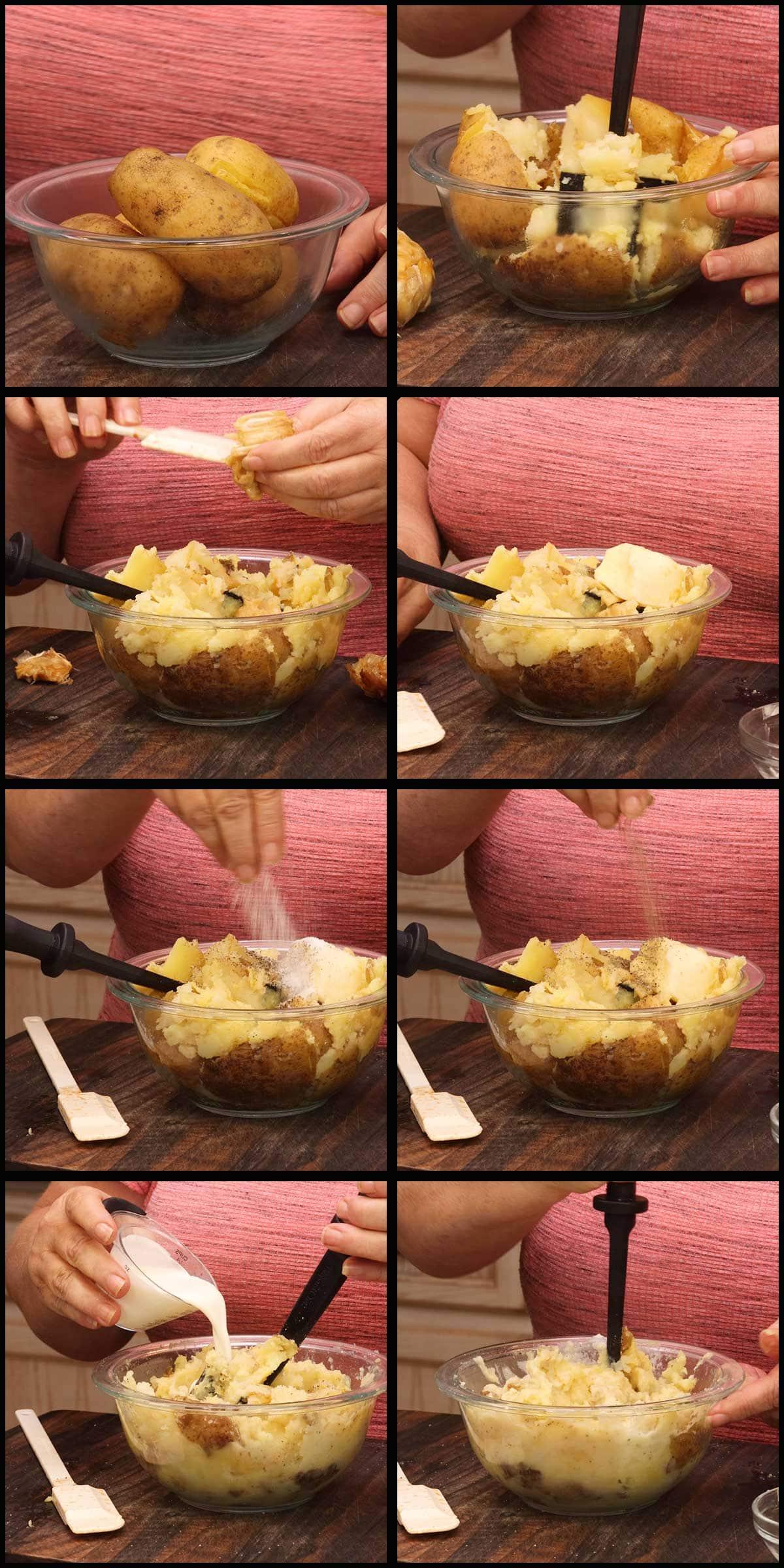 making garlic smashed potatoes