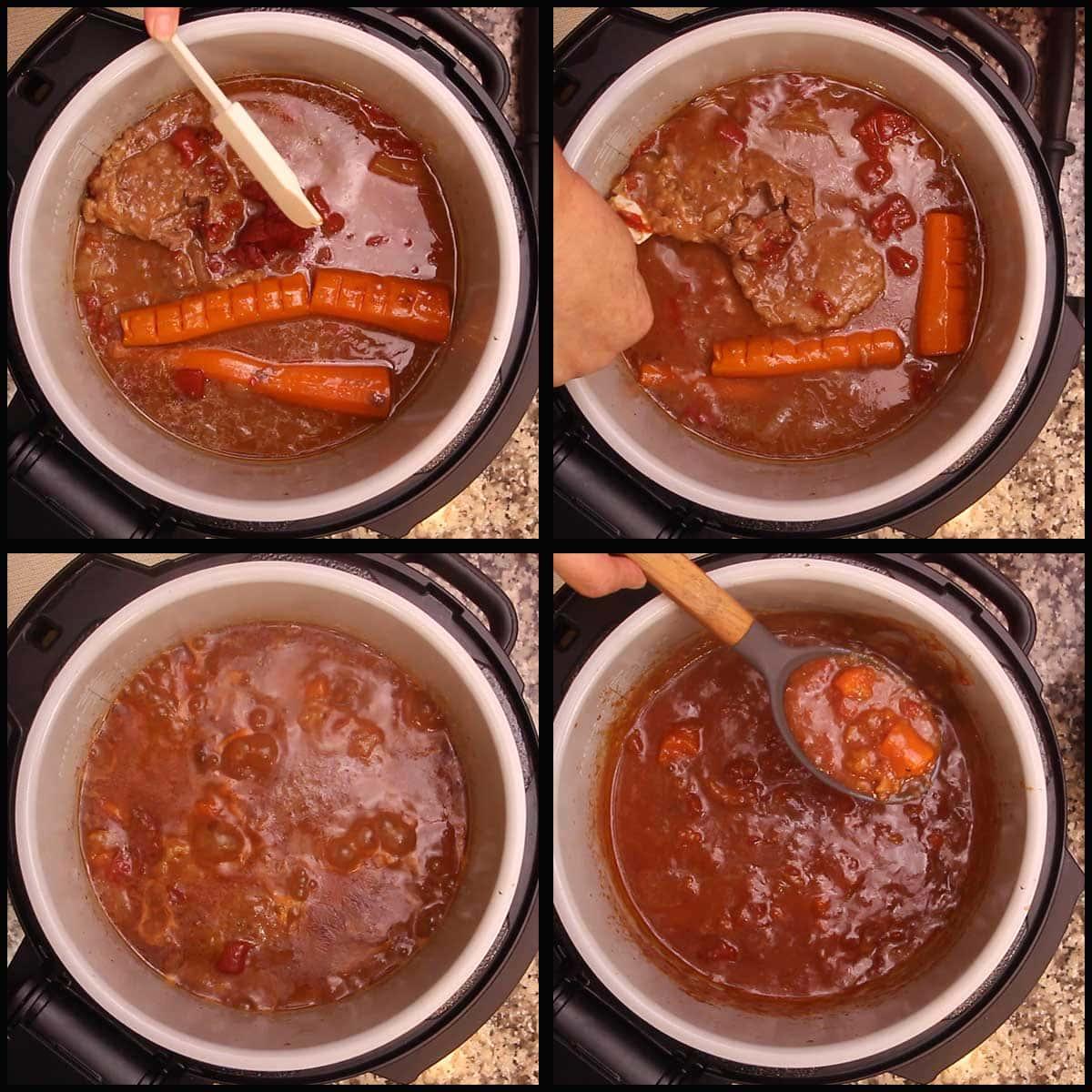 Thickening the tomato gravy for swiss steak