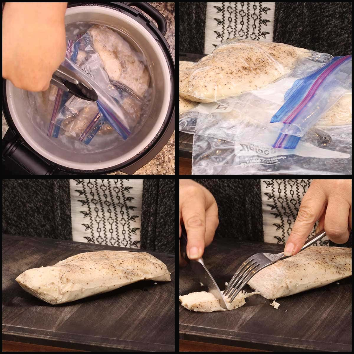 removing chicken breast after sous vide cooking and slicing them