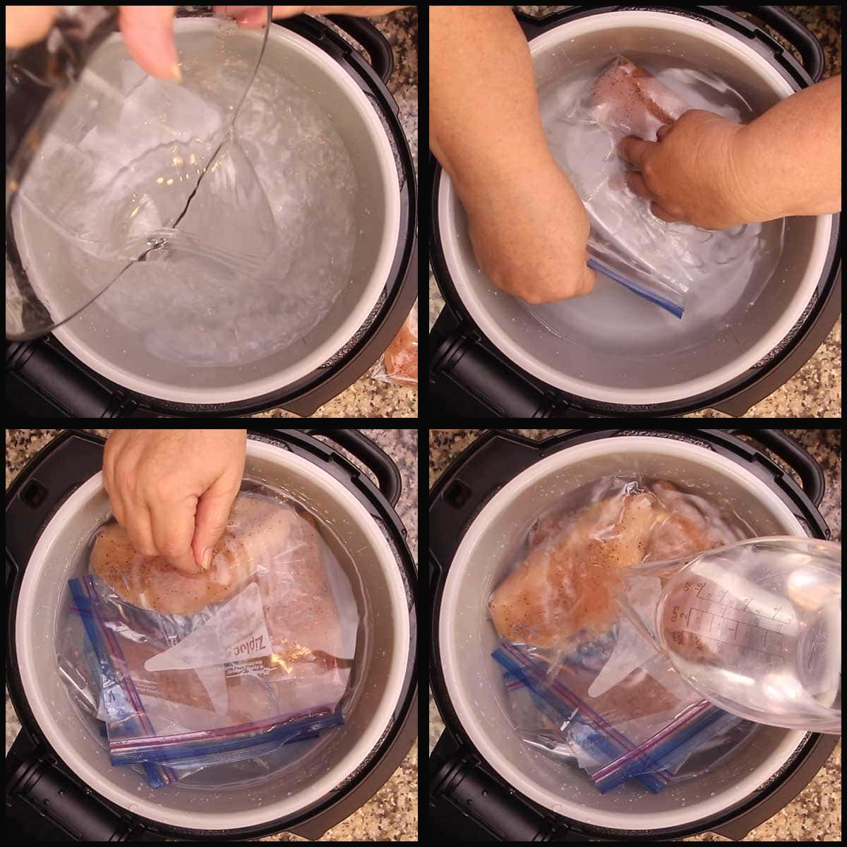 adding water to inner pot to make sure chicken breasts are fully submerged
