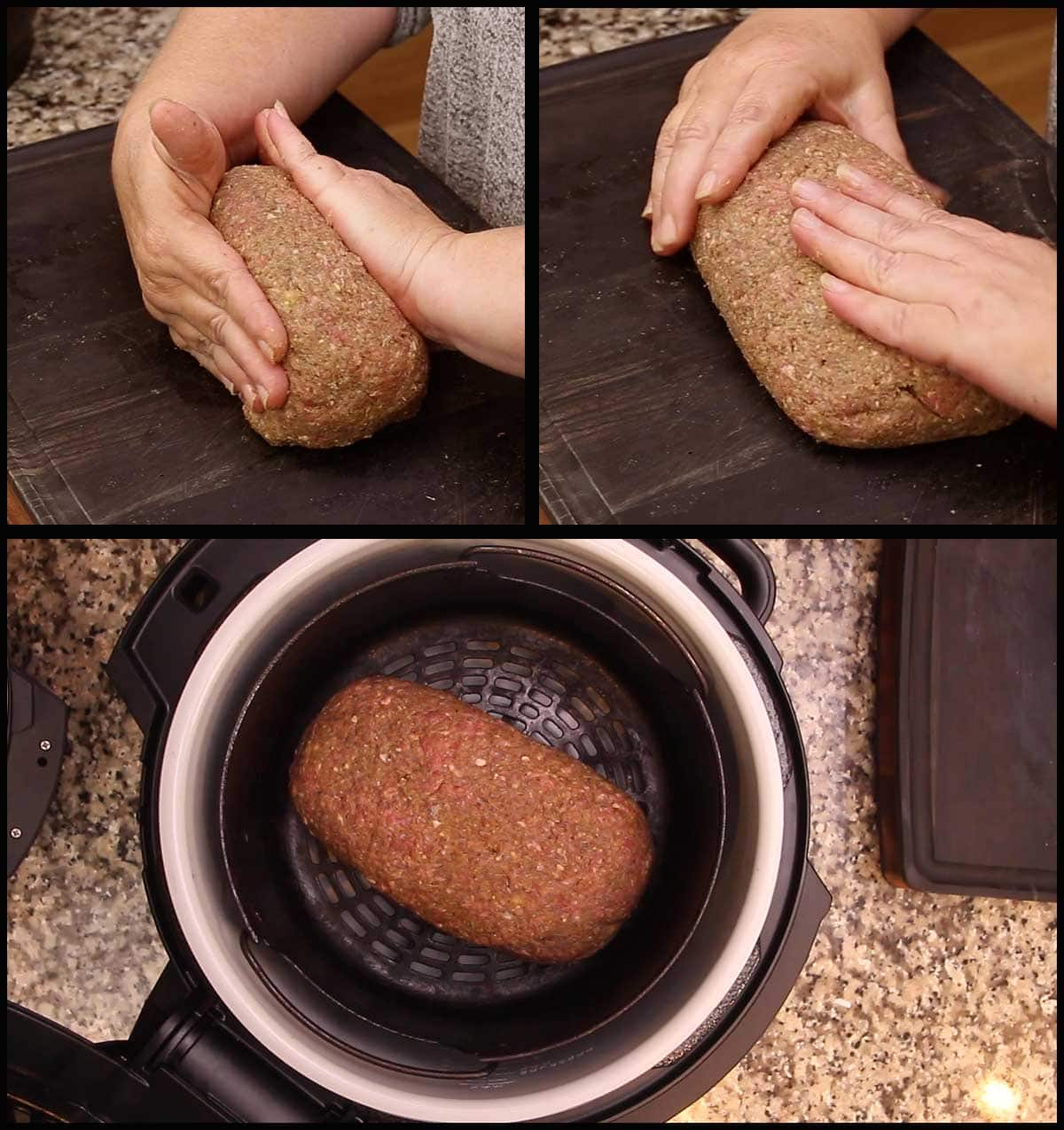 shaping the meatloaf for air frying